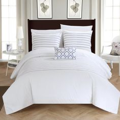 Chic Home 8-Piece Kingston Super Soft Microfiber Stitch Embroidered King Bed In a Bag Duvet Set White With White Sheets included