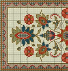 ru / Фото - Small and Simple Rug - azteca Diy Embroidery, Cross Stitch Embroidery, Embroidery Patterns, Just Cross Stitch, Cross Stitch Flowers, Cross Stitch Designs, Cross Stitch Patterns, Tapestry Crochet, Embroidery Techniques