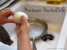 Montessori Practical Life {Egg Boiling & Washing Dishes}