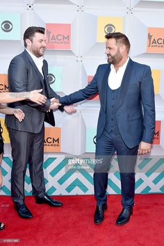 Singers Chris Young (L) and Randy Houser attend the 51st Academy of Country Music Awards at MGM Grand Garden Arena on April 3, 2016 in Las Vegas, Nevada.