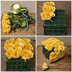 Gorgeous flower boxes. As gifts or centerpieces... I just think they are sooo beautiful and simple.  Can use fresh flowers in the green strawberry baskets very simple