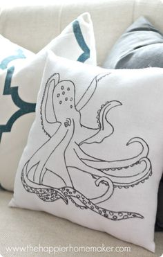 Here's a great idea for making pillows from tea towels! They are thin enough to easily trace any text or image with a Sharpie, like this Anthropologie-inspired octopus design.
