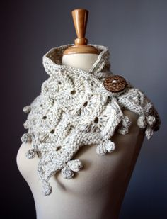 Chunky knit scarf neckwarmer / scarf / wrap / cowl WOODLAND Oatmeal / Wheat / Off White designer Made to Order