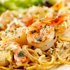 Chef Mike Isabella's Shrimp Scampi - lean and easy shrimp pasta Shrimp Linguine, Cajun Shrimp Pasta, Grilled Shrimp, Pasta Scampi, Cooked Shrimp, Garlic Shrimp, Seafood Dishes, Pasta Dishes, Seafood Recipes