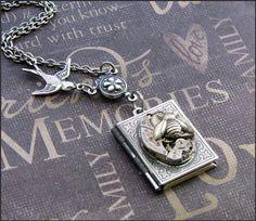 Silver Book Locket Necklace Enchanted Birds by TheEnchantedLocket, $31.00