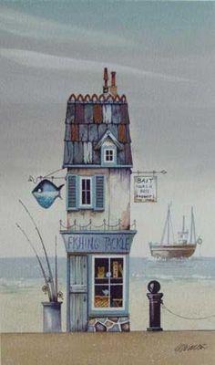 Gary Walton watercolour 'Fishing Tackle' – Famous Last Words House Sketch, House Drawing, Copic Drawings, Art Drawings, Watercolor Sketch, Watercolor Paintings, Watercolors, Cartoon House, Guache