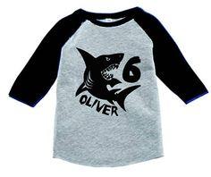Personalized Shark T Shirt For Boys Shark Birthday T