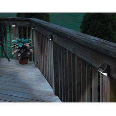 "Solar Deck Post Lights (Set of 4). -$36.95- Discreet functional solar lighting Convenient and versatile, these low profile Solar Deck Post Lights let you add low cost, decorative lighting anywhere you have a flat surface such as a deck rail, stair riser, or 4""x4"" post. Use them to illuminate steps, decks, and walkways to increase safety without the hassle of wiring. They can also be used to light up key holes, mailboxes, etc."