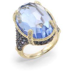 Judith Ripka Blue Quartz, Sapphire & Diamond 14K Yellow Gold Ring ($795) ❤ liked on Polyvore