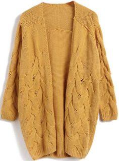 Жёлтый свитер кардигана