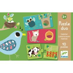 This 20 Piece Duo Puzzle from Djeco comes with an animal habitat theme your little ones will love! Puzzles Für Kinder, Jigsaw Puzzles For Kids, Puzzles For Toddlers, Puzzle Djeco, Baby Laden, Animal Habitats, Matching Games, Smash Book, Early Learning