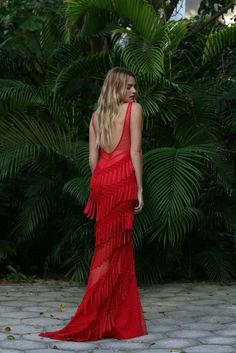 Dress: tumblr maxi long red fringes fringed open back open back es backless backless gown