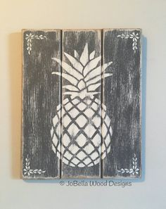 Free Shipping!  Hospitality Pineapple Wood Wall Hanging in Gray & White…