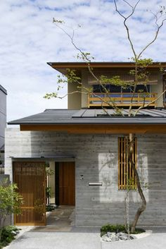 Modern Japanese House Design with the Use of Treated Wood Material - Modern Face of Japanese House Architecture with Nature Living Concept - Dream fun Design Japanese Modern House, Modern Japanese Architecture, Japanese Gate, Japanese Homes, Japanese Design, Architecture Design, Japan Architecture, Concept Architecture, Modern House Design