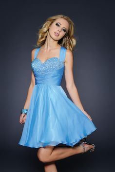 2014 Halter A Line Short/Mini Prom Dress Beaded Bust Ruffled Chiffon USD 129.99 EPPNYKDC4G - ElleProm.com