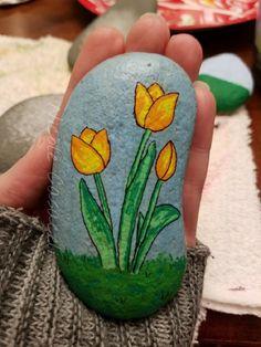 Tulip painted rock #52rocks #paintedrocks #kindnessrocks