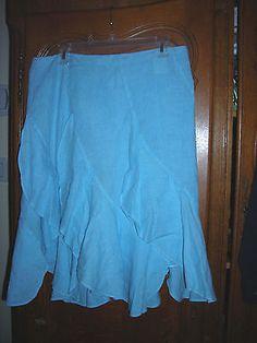 Linen Skirt 120% Lino Smokey Blue Ruffle Italy sz 46 US sz 16.