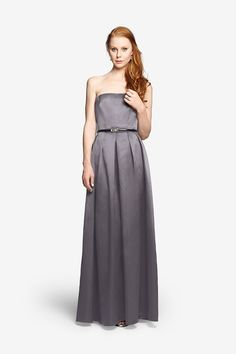Somerset Gown Strapless Gown in Satin A cleanly finished bodice, such as the one here, lends a modern look to this sumptuous gown in satin. Don't forget the statement necklace or light shrug to fend off cool breezes.