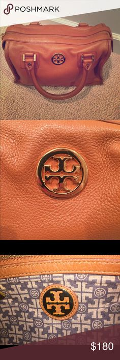 Tory Burch Bijou Ana Satchel Brown Tory Burch handy handbag. Great condition (used less than a dozen times) slight scuffs on piping. W13 H11 D5 Tory Burch Bags Hobos