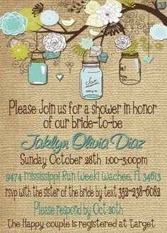 Bridal Shower Baby Shower Mason Jar Burlap invitation - DIY Print Your Own.
