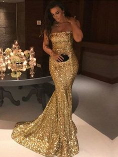Glitter Long Gold Sequins Strapless Prom Dress by PrettyLady on Zibbet Strapless Prom Dresses, Sequin Prom Dresses, Prom Dresses 2018, Mermaid Dresses, Long Dresses, Gold Sequin Dress, Dress Prom, Bridesmaid Dresses, Party Dresses