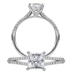 Classic diamond engagement ring featuring a prong set princess cut center stone and two rows of micropavé diamonds on the split shank.