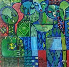 Nike Davies-Okundaye & Tola Wewe Royal Chief, 2011 Mixed media on canvas 47 x 47 in x cm African Image, Picasso Art, Tola, Art Brut, African Artists, Gcse Art, African Culture, Colorful Drawings, Mixed Media Canvas