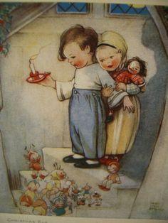 Vintage Illustration Original Vintage Christmas Card by Mabel Lucie Attwell Vintage Greeting Cards, Vintage Christmas Cards, Vintage Postcards, Christmas Eve, Drawing For Kids, Art For Kids, Vintage Children's Books, Children's Book Illustration, Illustrators