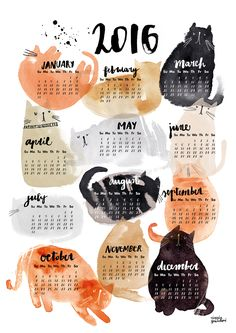 cat calendar from Cinzia Zenocchini