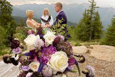 An Aspen Mountaintop Elopement for Jessica and Brandon - Blue Sky Elopements Flower Bouquet Wedding, Aspen, Floral Wreath, Wedding Inspiration, Wreaths, Bridal, Purple, Bride, Bridal Gown