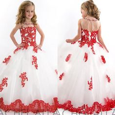 White and Red Flower Girl Dresses Jewel Neck Beaded Lace Tulle Ball Gown Lovely 2015 Girls Pageant Dresses Custom Made G37