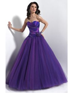 Strapless taffeta and tulle ballgown Prom Dresses