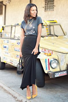 maxi and vintage tee