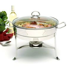 Stainless steel chafing dish with lid. Product: Chafing dish and lidConstruction Material: Stainless steel and glassColor: SilverFeatures: 6 Quart capacityDimensions: H x W x DCleaning and Care: Hand wash recommended Specialty Cookware, Kitchen Gadgets, Kitchen Appliances, Keep Food Warm, Chafing Dishes, Kitchen Essentials, The Dish, Serveware