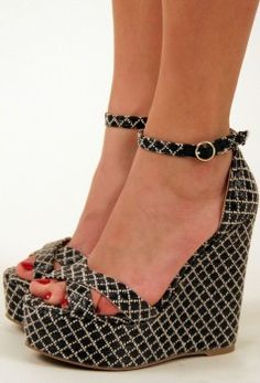 Woven lattice wedge with a crisscross strap toe and an anke strap closure Cute Wedges Shoes, Cute Shoes, Wedge Shoes, Me Too Shoes, Shoes Sandals, Wedge Sandal, Fashion Shoes, Fashion Accessories, Black And White Shoes