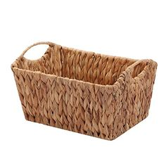 Kingwillow, Hand Woven Natural Water hyacinth Rectangular Storage Baskets with Handle (Small, TypeD)