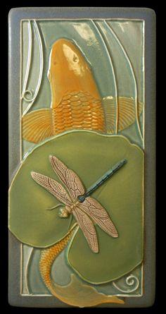 "Updated image of ""Koi and Dragonfly""art tile ceramic tile animal art by MedicineBluffStudio 4 x 8 inches Art Vampire, Vampire Knight, Cosplay Pokemon, Art Nouveau Tiles, Art Nouveau Design, Koi Art, Fish Art, Dengeki Daisy, Arts And Crafts Movement"