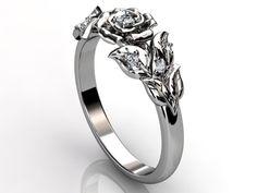 Platinum diamond unusual unique flower engagement ring by Jewelice, $1,450.00