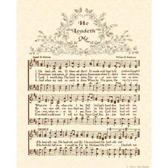 HE LEADETH ME  8 X 10 Antique Hymn Art Print by VintageVerses, $5.00
