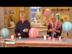 Martha and Tori Spelling craft charming papier-mache balloon decorations. Baby Shower Balloons, Baby Shower Themes, Diy For Kids, Crafts For Kids, Nursery Crafts, Paper Crafts, Diy Crafts, Balloon Decorations, Hot Air Balloon