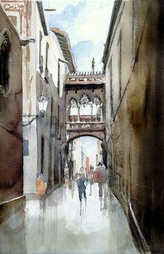 Carrer del Bisbe, Barcelona. #watercolor jd