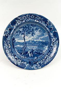 Fairmount Near Philadelphia American Scene Historical Staffordshire Blue White Antique Pottery