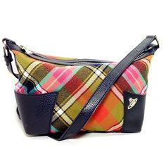 Vivienne Westwood Tartan Plaid Wool Tweed Leather Handbag Purse w Dust Bag