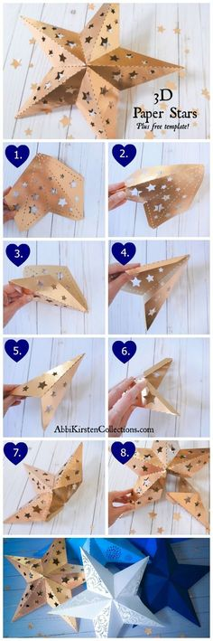 Paper Star Template: Paper Star Instructions and Free Template, Paper Star Template: Paper Star Instructions and Free Template Wedding Lanterns, Paper Stars, Free DIY Printable Star Templates. Star Lanterns W. Origami Paper, Diy Paper, Paper Crafts, Diy Crafts, Dollar Origami, Oragami, Origami Easy, 3d Paper Star, Paper Stars