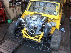 V8 twin turbo mini!! Mini Cooper Classic, Classic Mini, Classic Hot Rod, Classic Cars, Bmw E36, E36 Coupe, Mini Morris, Mini Copper, Mini Clubman