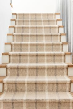 Staircase Runner, Staircase Ideas, Bannister Ideas, Staircase Remodel, Entry Stairs, Basement Stairs, Entry Hall, Low Pile Carpet, Studio Mcgee