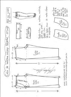 Esquema de modelagem de calça de moletom skinny PP.