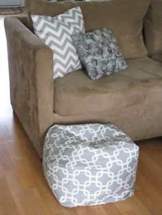 Recovered pillows & beanbag ottoman <3 #ournewhouse