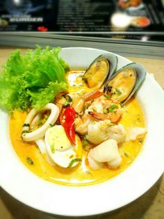 Tom Yum Noodle with Seafood.