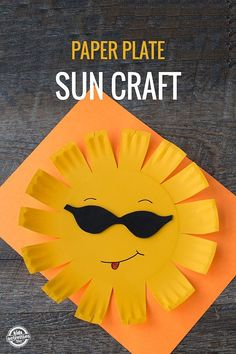"""Kids of all ages will love this """"cool"""" Paper Plate Sun Craft. It's the perfect craft for weather units, welcoming summer, or just for fun."""